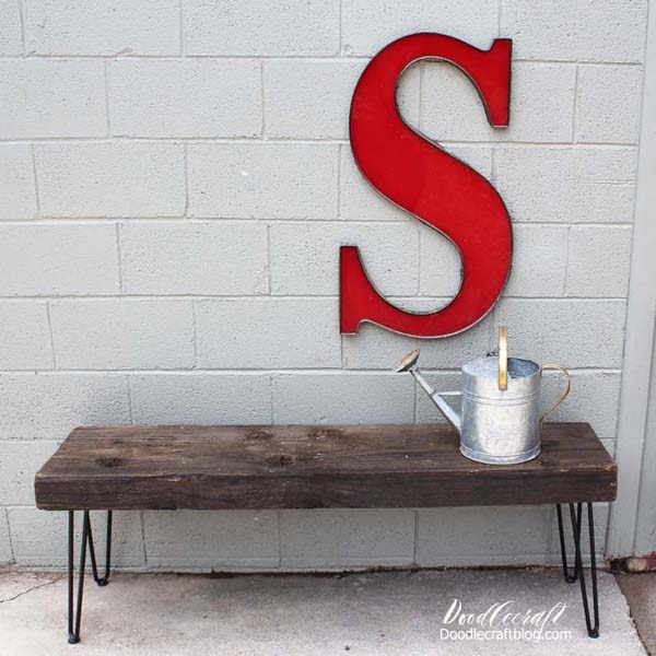 This chunky wood bench is easy to put together using hairpin legs.