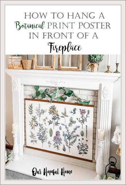 botanical print poster hanging fireplace