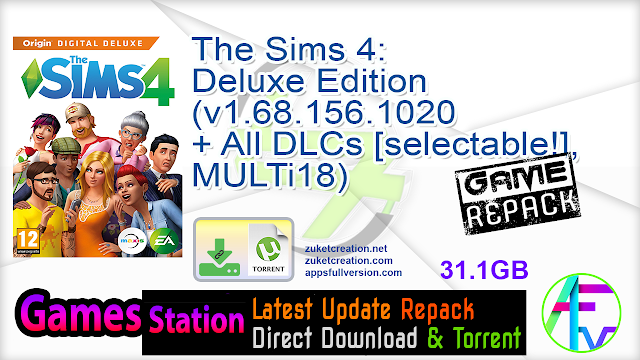 The Sims 4 Deluxe Edition (v1.68.156.1020 + All DLCs [selectable!], MULTi18)