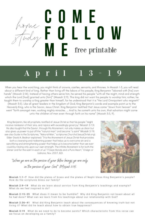 Come Follow Me Home Study Printable  |  free printable, Come Follow Me, Church, Church at home
