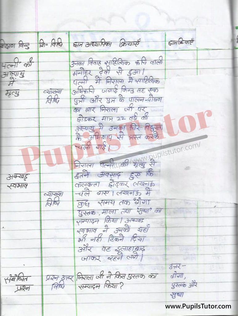 Suryakant Tripathi Nirala par Lesson Plan in Hindi for BEd and DELED