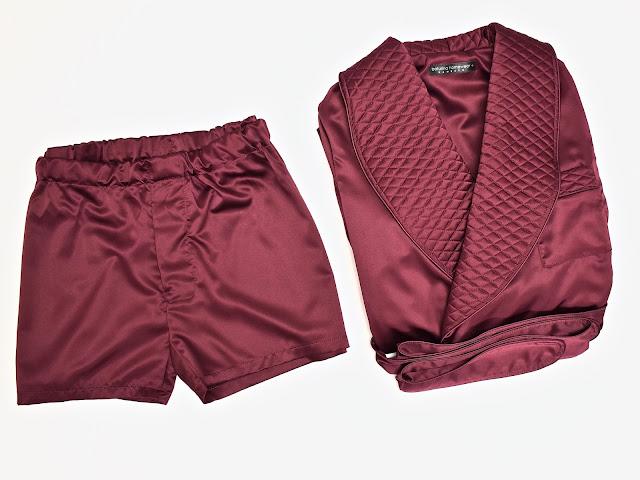 mens silk boxers and robe set burgundy dressing gown quilted smoking jacket gentlemans luxury vintage pajamas