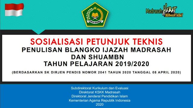 Penulisan Blangko Ijazah Madrasah Dan SHUAMBNTahun Pelajaran 2019/2020