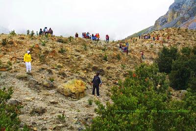 Pengunjung Gunung Papandayan yang semakin banyak.