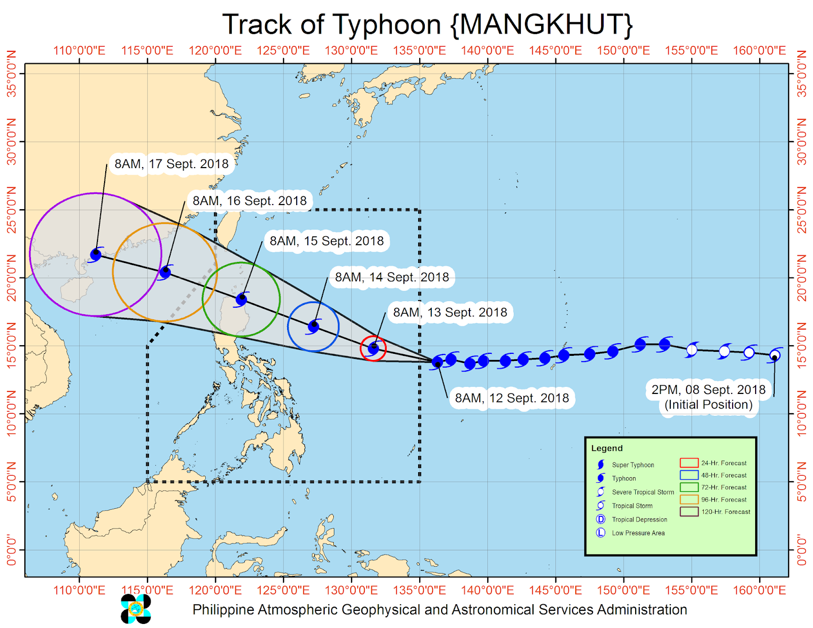 Typhoon Mangkhut (Ompong) track