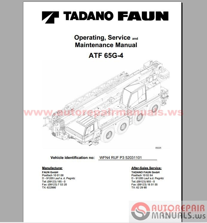 Free Auto Repair Manual : Tadano Cranes Operation, Service
