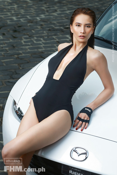 Rachel Ann Daquis black swimsuit