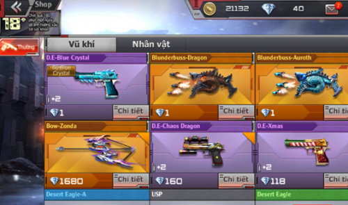 Người chơi có khả năng chọn lựa giữa nhiều loạt game đấu khác nhau trong vòng Crossfire Legends