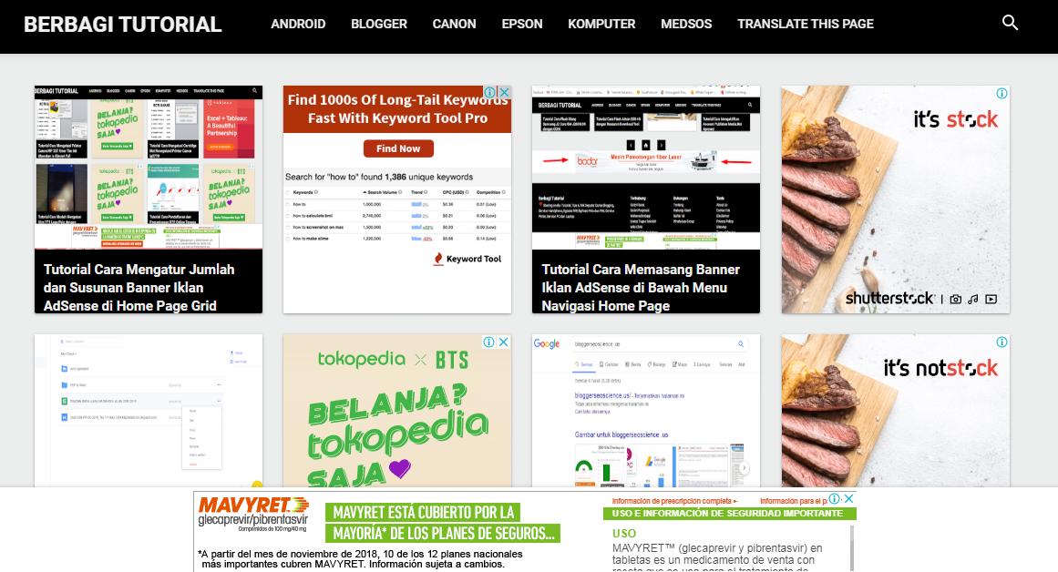 Iklan AdSense home page