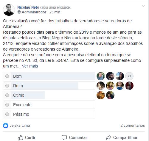 Blog Negro Nicolau lança enquete sobre avaliação dos trabalhos de vereadores e vereadoras de Altaneira