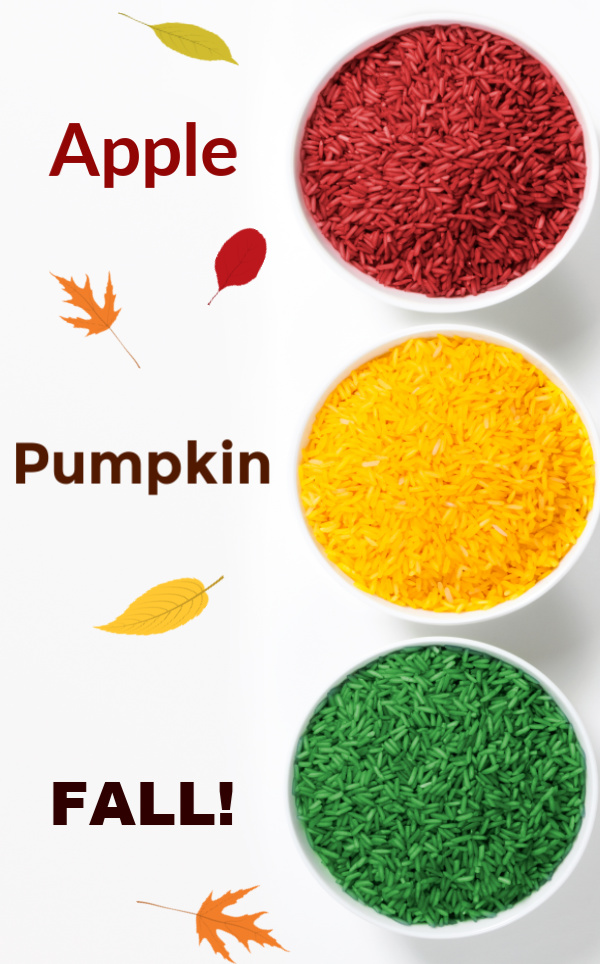 Make a variety of Fall colored rice for play & learning activities using this easy recipe for kids. #ricerecipes #rice #rainbowrice #fallrice #rainbowricesensorybin #sensoryactivitiestoddlers #sensorybins #howtocolorrice #howtodyerice #fallcrafts #fallcraftsforkids #growingajeweledrose #activitiesforkids