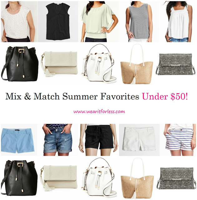 shirts, tops, bags, shorts, sandals, all on sale for under $50