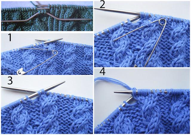 Этапы перекрещивания петель с наклонов влево в аранском вязании