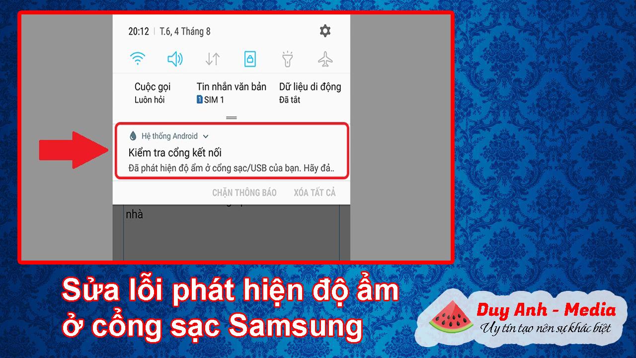 Sửa lỗi phát hiện độ ẩm ở cổng sạc điện thoại Samsung