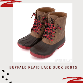 monogrammed buffalo plaid lace duck boots
