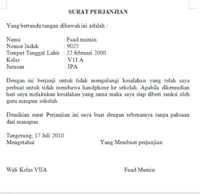 contoh surat perjanjian siswa