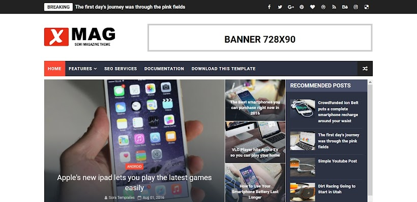 X-Mag Free Blogger Template