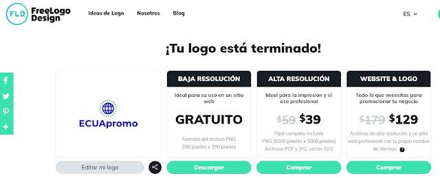 Free Logo Desing:   Una de las que más me gusto, tanto en su manejo como en los resultados.    Esta opción cuenta con un plan gratuito en baja resolución sin embargo si necesitas imprimir tu logotipo vas a requerir el plan de $39.