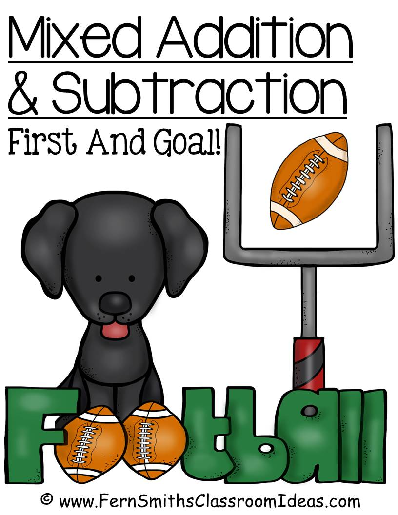 Fern Smith's Classroom Ideas FREE Mixed Addition and Subtraction Center Game with a Doggie First Down and Goal Theme!
