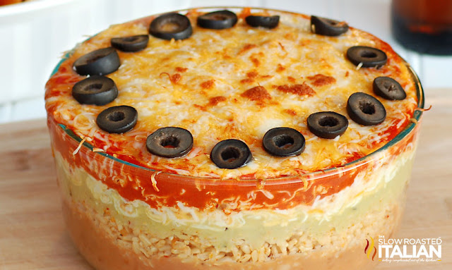 http://www.theslowroasteditalian.com/2011/09/7-layer-mexican-bean-dip.html