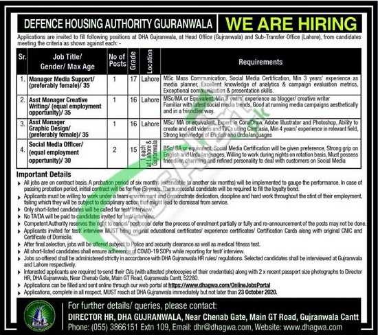 defence-housing-authority-dha-gujranwala-jobs-2020-apply-online