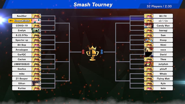 Super Smash Bros. Ultimate Min Min tourney mode June 29 2020 bracket