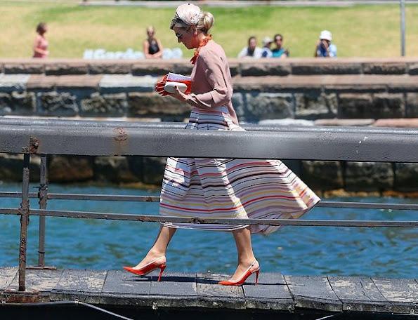 Queen Maxima wore Natan Skirt, dresses, Natan shoes, pumps, Natan Necklace, earrings