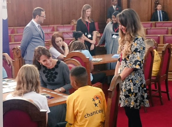 Catherine, Duchess of Cambridge seen arriving at the Islington Town Hall to meet children and mentors from Chance UK's Early Intervention Programme