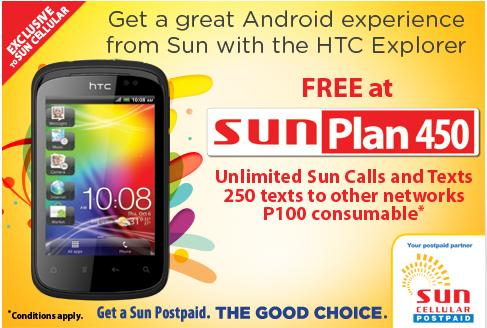 Sun Cellular HTC Explorer on Plan P450 and Specifications