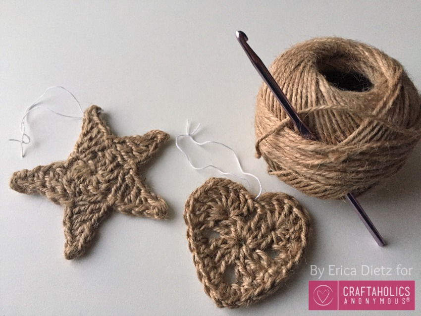 today i am over on craftaholics anonymous sharing some crocheted christmas ornaments there are 2 patterns a heart and a star they are both really simple