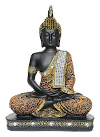 Buddha Idol Statue for Blessing Home Decoration and Gifting (Orange and Black)