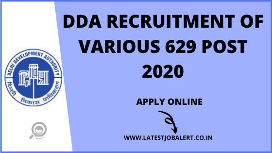 Delhi Development Authority DDA Various Post online form 2020
