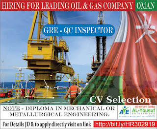 GRE QC inspector for Oil & Gas in Oman