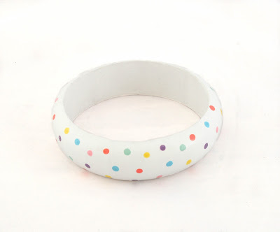 Colourful White Polka Dot Wood Bangle Bracelet