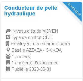 Conducteur de pelle hydraulique AZZABA etb mebrouki salim