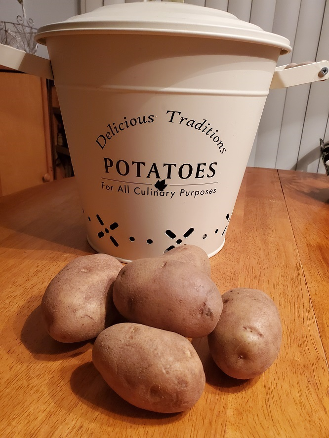 this is a big tin filled with russet potatoes with a lid on it on a kitchen table