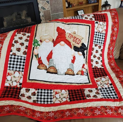 red and white gnome quilt