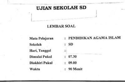 Soal Ujian Sekolah SD Pendidikan Agama Islam (PAI)