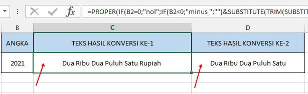 hasil konversi (perubahan) angka ke huruf/teks dengan menggunakan rumus