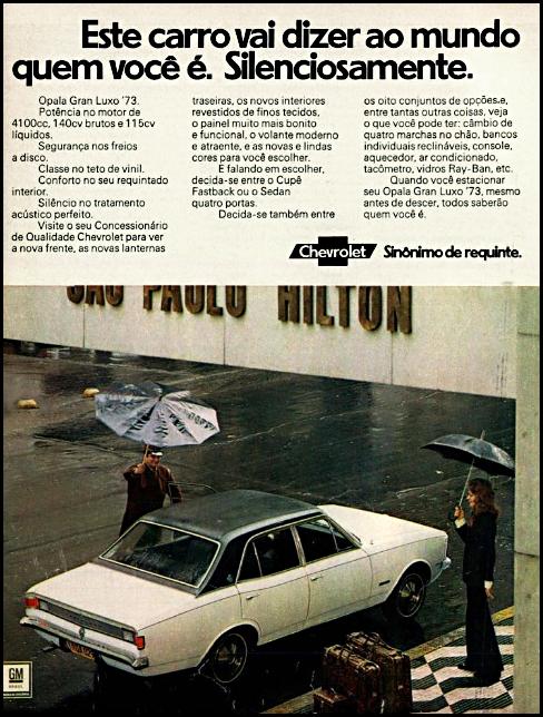 Anúncio da Chevrolet promovendo o modelo para o ano de 1973 do Opala Gran Luxo