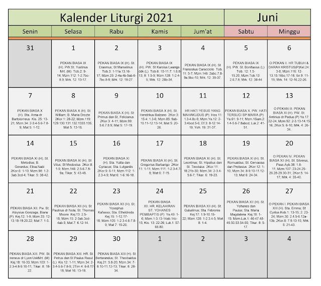 Download Kalender Liturgi Juni 2021 Tahun B/1 PDF Excel dan JPEG