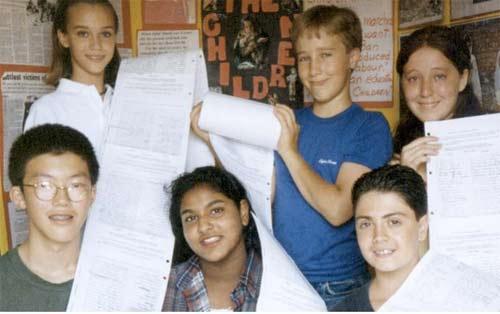 Juni 1995, dan upaya awal advokasi berhasil melawan pekerja anak. Craig Kielburger (barisan belakang, tengah) dengan beberapa anggota asli WE, yang mengumpulkan 3.000 tanda tangan. Gambar dari CNN.COM