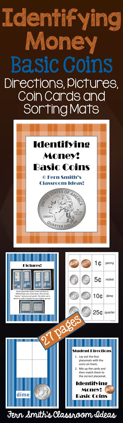 Fern Smith's Classroom Ideas Identifying Money Center Game at TeachersPayTeachers