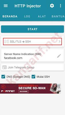 klik ssl/tls -> ssh