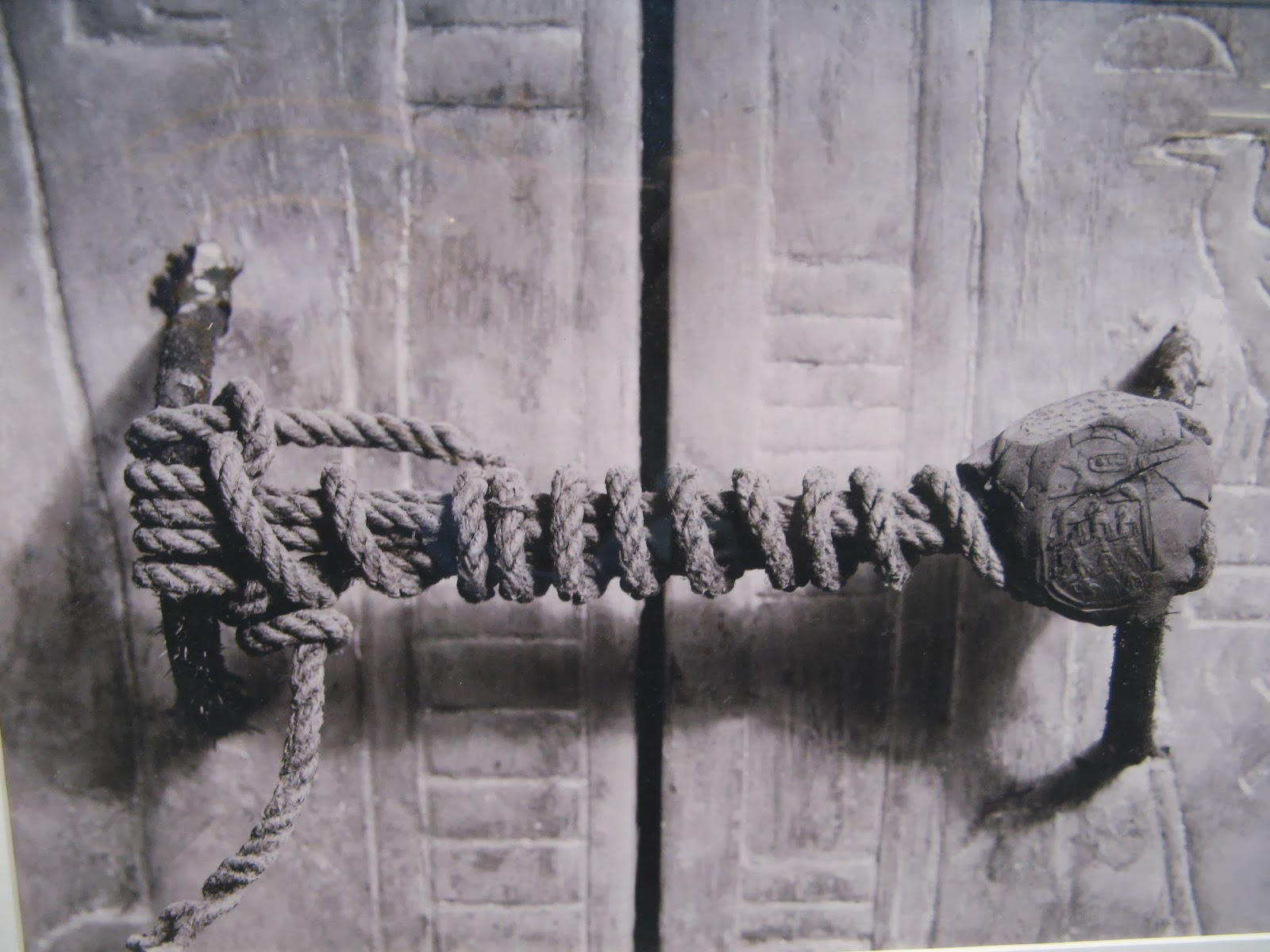 The unbroken seal on King Tutankhamun's tomb, 1922.