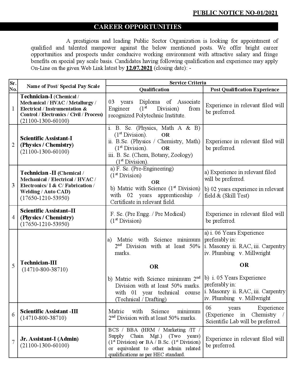 PAEC Jobs 2021-Pakistan Atomic Energy Commission   Apply Online