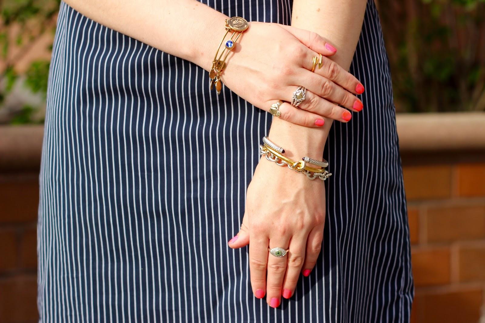 hot pink nails bangles