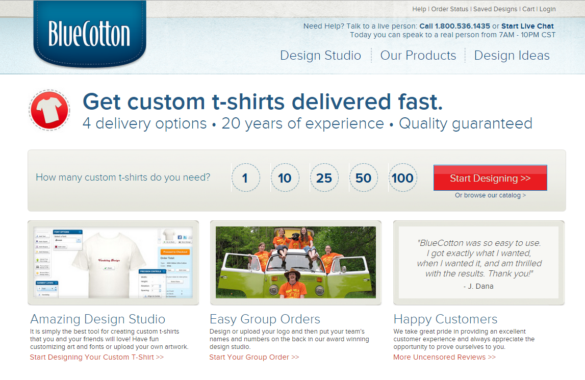 Custom T-Shirts from BlueCotton