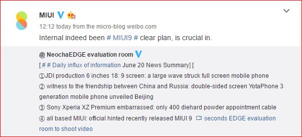 MIUI 9 Secara Resmi Dikonfirmasikan Dalam Pengembangan