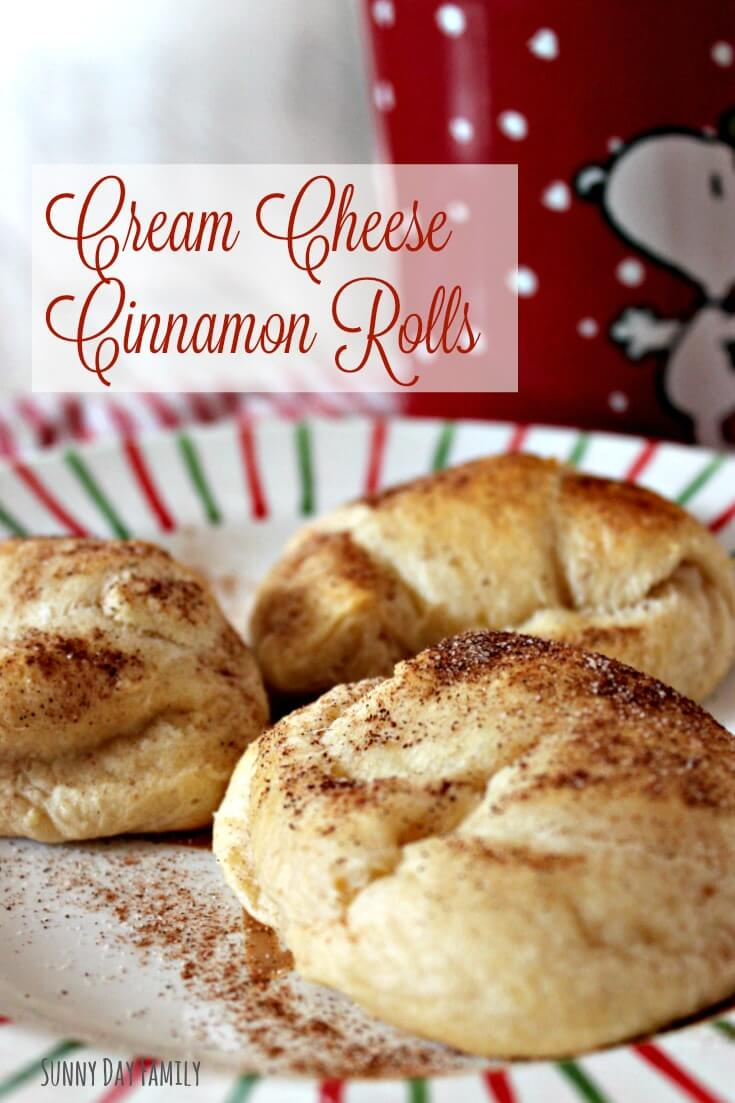 Easy Cream Cheese Cinnamon Rolls! Delicious rolls filled with cinnamon and cream cheese - make them in minutes for a perfect holiday breakfast idea!